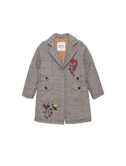 Girls' Embroidered Woolen Coat