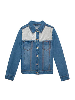 100% Cotton Denim Washed Jacket For Girls