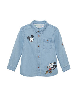100% Cotton Denim Washed Shirt For Baby Boys